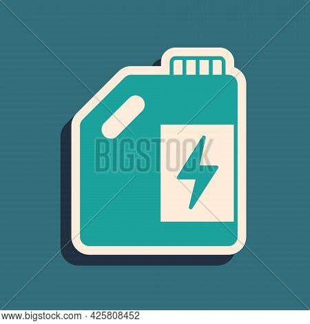 Green Eco Fuel Canister Icon Isolated On Green Background. Eco Bio And Barrel. Green Environment And