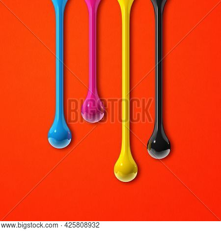 3d Cmyk Ink Drops Isolated On Red Paper Background. Square Wallpaper. Illustration