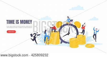 Time Is Money Or Save Time Business Concept Flat Style Vector Illustration Isolated On White Backgro