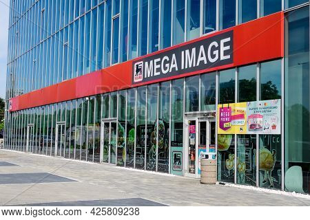 Bucharest, Romania - 15 May 2021: Entry Sign With Logo For Mega Image Supermarket
