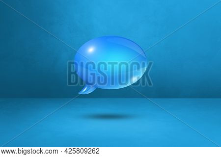 3d Blue Speech Bubble Isolated On Cyan Background