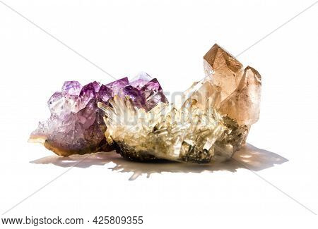 Amethyst And Quartz Gemstones Isolated On A White Background