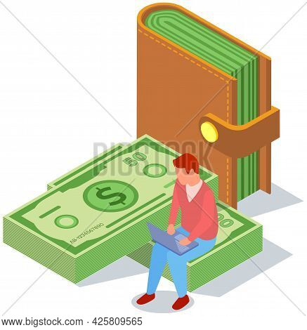Man Works On Computer In Online Banking. Money, Bills And Foreign Currency Concept. Businessman Sitt