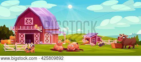 Colorful Farmyard With Domestic Animals And Poultry Outside Wooden Barn Green Rural Scenery Illustra
