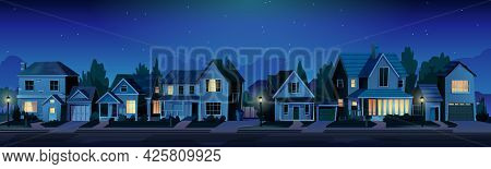 Urban Or Suburban Neighborhood At Night, Houses With Lights, Late Evening Or Midnight. Homes With Ga