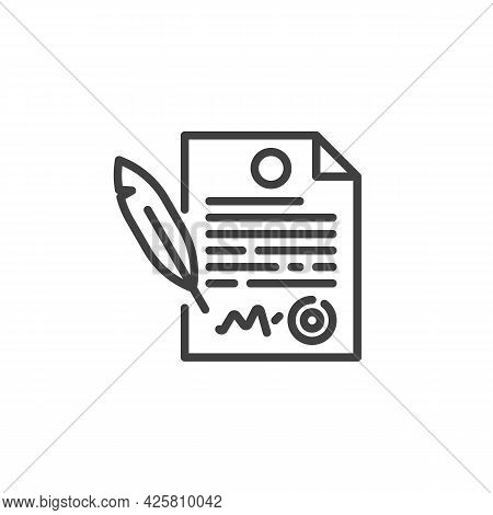 Contract And Pen Line Icon. Agreement Contract Linear Style Sign For Mobile Concept And Web Design.
