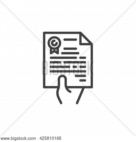 Hand With Contract Document Line Icon. Linear Style Sign For Mobile Concept And Web Design. Hand Giv