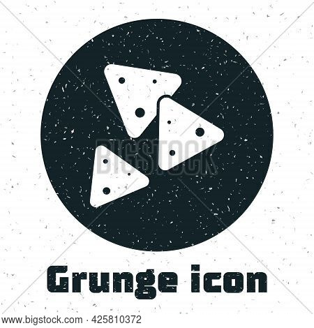 Grunge Nachos Icon Isolated On White Background. Tortilla Chips Or Nachos Tortillas. Traditional Mex