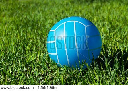 Blue And White Rubber Volley Ball On The Grass