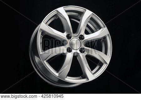 Alloy Wheel Close Up Silver Metallic Color On Black Background
