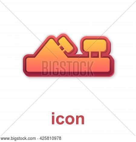 Gold Wood Plane Tool For Woodworker Hand Crafted Icon Isolated On White Background. Jointer Plane. V