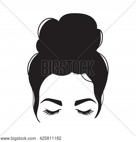 Woman Messy Bun And Moon. Woman Silhouette With Hair And Long Eyelashes. Black Vector Illustration O