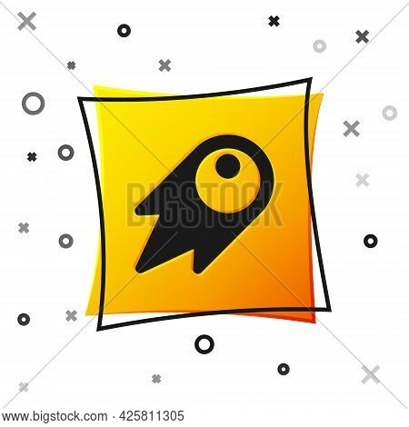 Black Comet Falling Down Fast Icon Isolated On White Background. Yellow Square Button. Vector