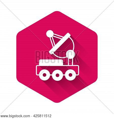 White Mars Rover Icon Isolated With Long Shadow Background. Space Rover. Moonwalker Sign. Apparatus