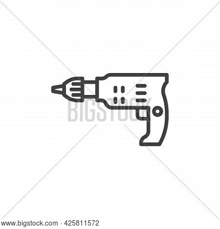 Electric Screwdriver Line Icon. Linear Style Sign For Mobile Concept And Web Design. Cordless Screwd