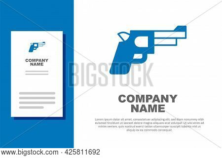 Blue Pistol Or Gun Icon Isolated On White Background. Police Or Military Handgun. Small Firearm. Log