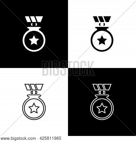 Set Medal With Star Icon Isolated On Black And White Background. Winner Achievement Sign. Award Meda