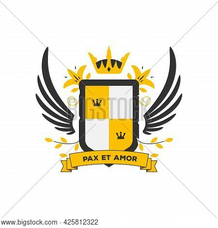 Classic Coat Of Arms In Modern Vector Two Color Style. Shield And Wings With Branches And Leaf. Fami