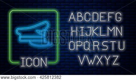 Glowing Neon Pilot Hat Icon Isolated On Brick Wall Background. Neon Light Alphabet. Vector