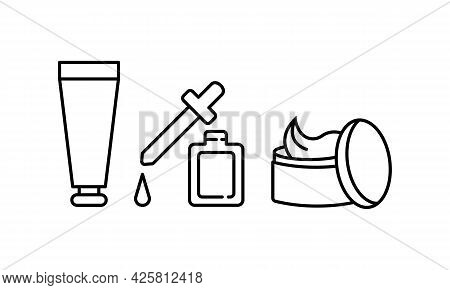 Cosmetic Bottle And Cream With Pipette Icon. Pharmacy Concept. Trendy Flat Isolated Outline Symbol C