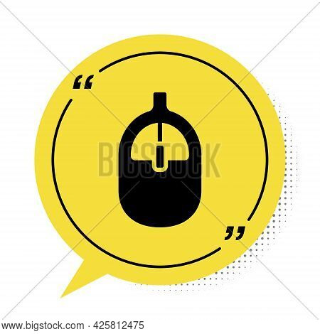 Black Computer Mouse Icon Isolated On White Background. Optical With Wheel Symbol. Yellow Speech Bub