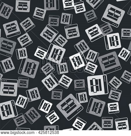 Grey Mysql Code Icon Isolated Seamless Pattern On Black Background. Html Code Symbol For Your Web Si