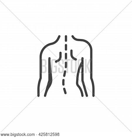 Bad Posture Line Icon. Linear Style Sign For Mobile Concept And Web Design. Body Incorrect Posture O