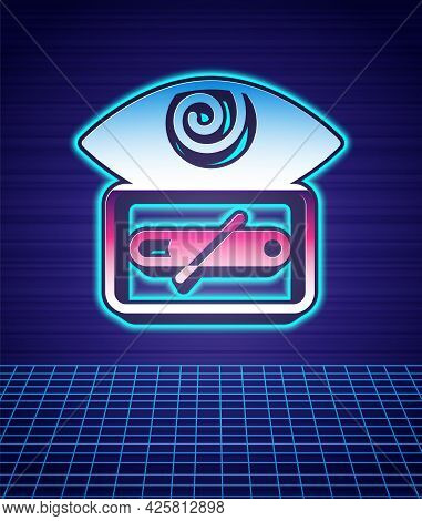Retro Style Hypnosis Icon Isolated Futuristic Landscape Background. Human Eye With Spiral Hypnotic I