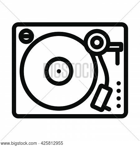 Vinyl Player Icon. Bold Outline Design With Editable Stroke Width. Vector Illustration.