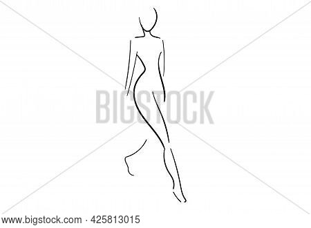 The Silhouette Of The Girl Is Outlined In Black Line Art. The Graceful Contour Of The Back Of A Youn