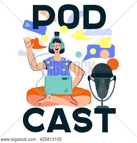 Podcast Emblem Design With Woman Talking To Microphone Recording Or Leading Podcast. Splash Screen F