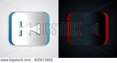 Paper Cut Rewind Button Icon Isolated On Grey And Black Background. Paper Art Style. Vector