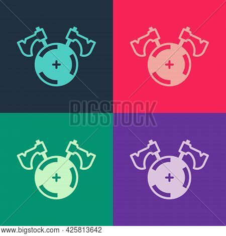 Pop Art Medieval Shield With Crossed Axes Icon Isolated On Color Background. Battle Axe, Executioner