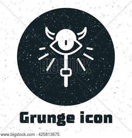 Grunge Magic Staff Icon Isolated On White Background. Magic Wand, Scepter, Stick, Rod. Monochrome Vi