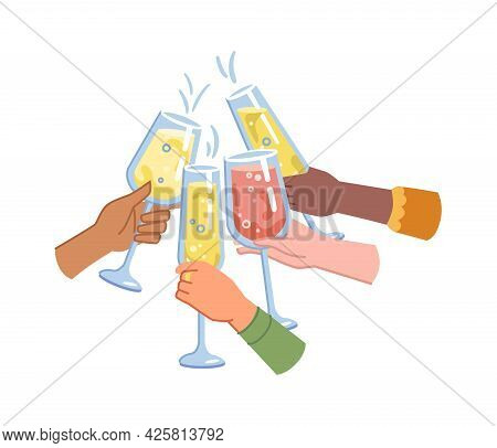 Toasting And Celebration, Cheers Hands Holding Glasses Of Sparkling Champagne. Isolated Palms With H