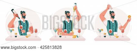 Skillful Professional Barman Making Cocktails And Alcoholic Drinks In Bar Or Pub. Isolated Virtuoso