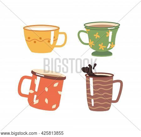 Coffee And Tea Hot Beverages In Cups And Mugs Decorated With Ornaments. Isolated Cappuccino Or Ameri