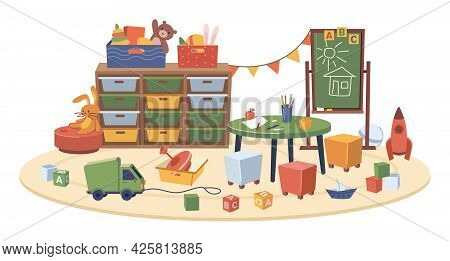 Classroom Of Kindergarten Interior Design, Isolated Room With Furniture And Toys For Children. Playr