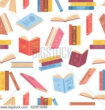 Books Seamless Pattern. Opened Book, Notebook Stacks. Literature Background, Library Or Reading Mark
