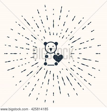 Grey Donate Child Toys Icon Isolated On Beige Background. Charity Kindness, Volunteer Social Assista