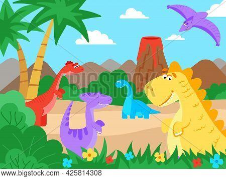 Prehistoric Landscape. Cartoon Dinosaur Nature Walk, Jurassic Cute Monsters. Baby Dino Animals In Ju