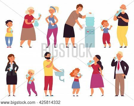 People Drinking Water. Teens Drink, Healthy Lifestyle Characters. Girl Drinks Pose, Child Hold Bottl