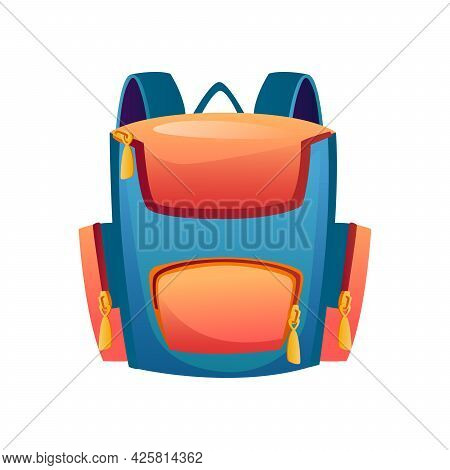 Rucksack For Kids Or Adults, Isolated Backpack With Pockets And Handle. Modern Design Of Satchel For
