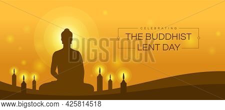 Celebrating The Buddhist Lent Day Brown Buddha Meditated And Candles Light To Pray On Yellow Backgro