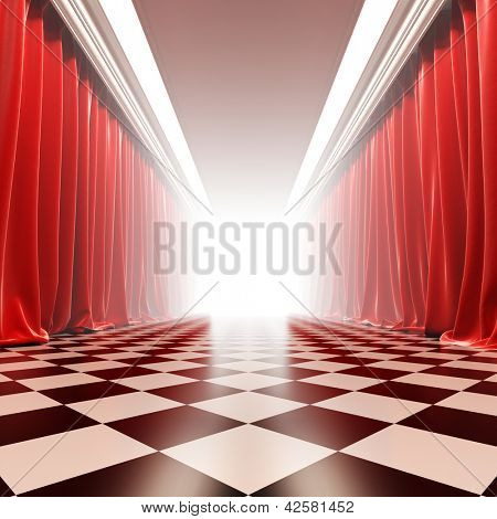 Hall of fame. A 3d illustration of empty hall with red curtains in victorian style.