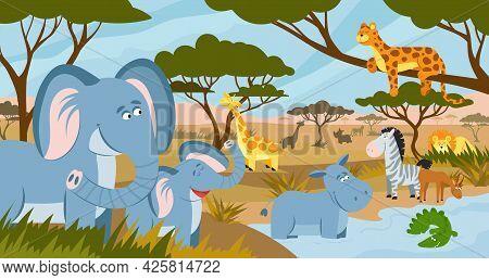 Savanna Animals. African Summer Animals, Savannah Lands Landscape. Funny Tropical Zoo, Safari Park P