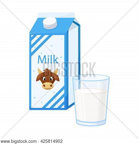 A Closed Paper Box With Milk With A Cow On The Label. A Clear Glass Glass With Fresh Milk. Food, Dai