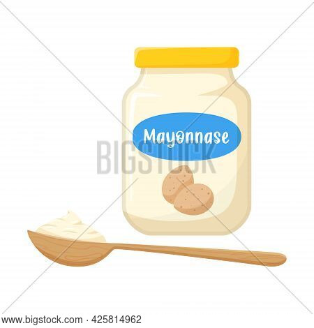 Mayonnaise Sauce In A Glass Jar With Quail Eggs On The Label. Mayonnaise In A Wooden Spoon. Greasy F