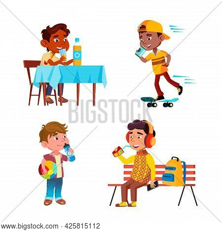 Boys Kids Drinking Delicious Drink Set Vector. African Child Ride On Skateboard, Preteen Sitting On