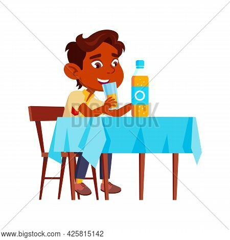 Boy Child Drinking Natural Juice At Table Vector. Thirsty Indian Preteen Kid Sitting At Desk In Dini